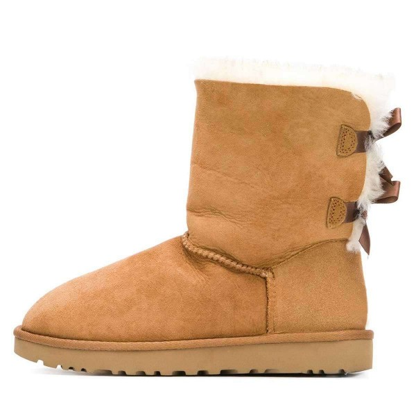 Tan Suede Flat Winter Boots with Bow image 3