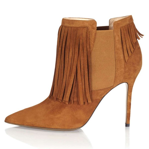 Tan Suede Fringe Boots Stiletto Heel Chelsea Boots image 3