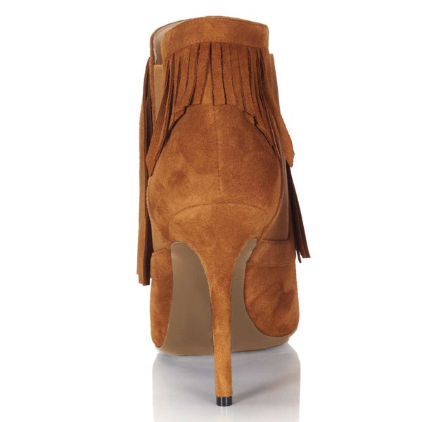 Tan Suede Fringe Boots Stiletto Heel Chelsea Boots image 2