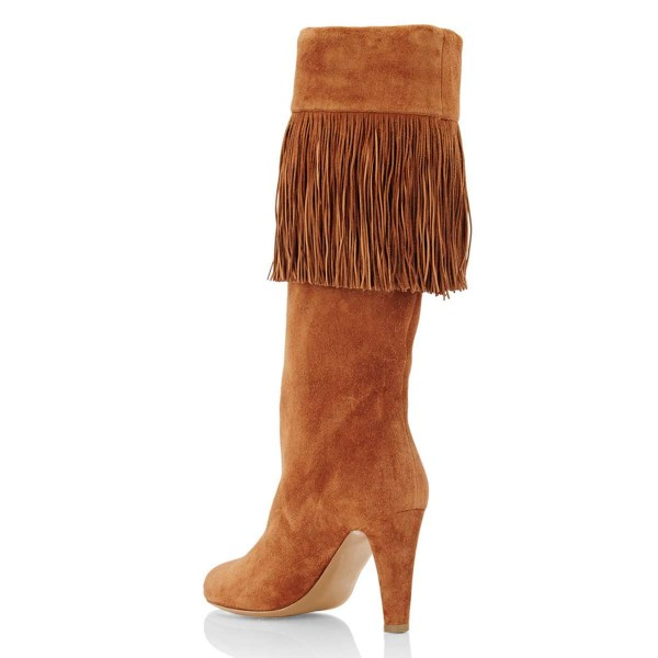 Tan Suede Fringe Chunky Heel Boots Knee-high Boots image 3