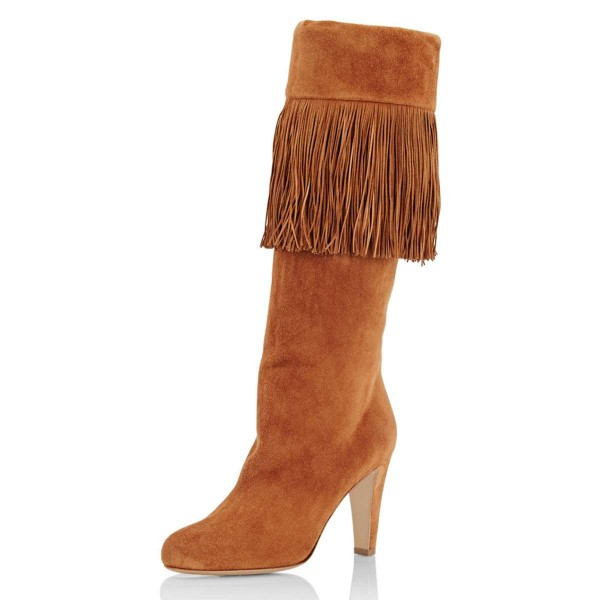offer discounts choose official 100% genuine Tan Suede Fringe Chunky Heel Boots Knee-high Boots