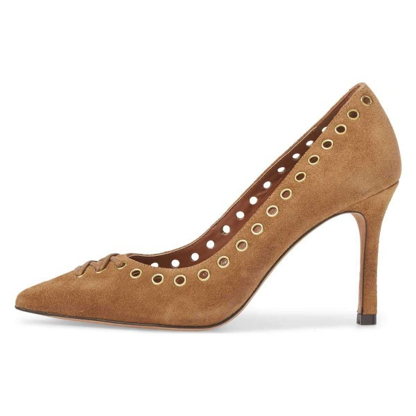 Tan Suede Holes Stiletto Heels Pumps image 3