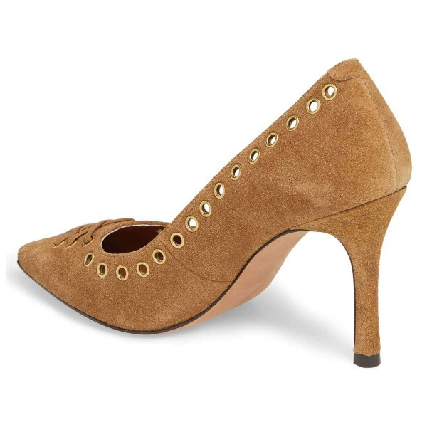 Tan Suede Holes Stiletto Heels Pumps image 2