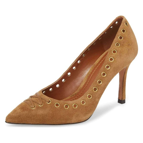 Tan Suede Holes Stiletto Heels Pumps image 1