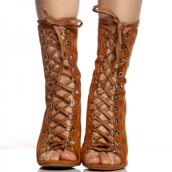 Brown Lace up Boots Peep Toe Stiletto Heels Suede Summer Ankle Boots  image 5