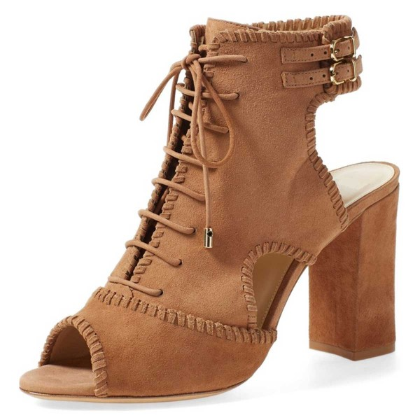 0a2e3c12674 Tan Suede Lace Up Peep Toe Booties Chunky Heel Ankle Boots for Work ...