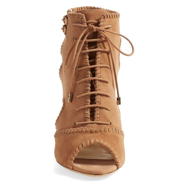 Orange Suede Lace up Boots Chunky Heel Peep Toe Ankle