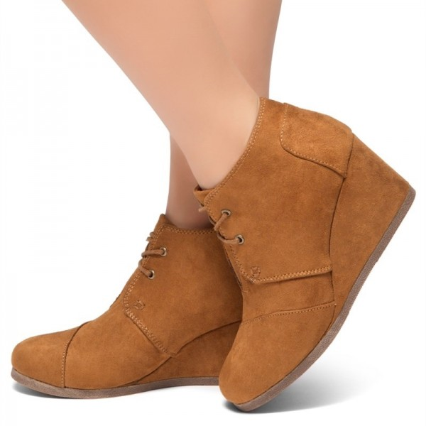 Tan Suede Lace Up Wedge Booties Ankle Boots image 2