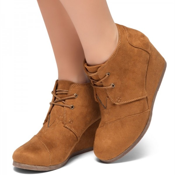 Tan Suede Lace Up Wedge Booties Ankle Boots image 1