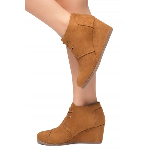 Tan Suede Lace Up Wedge Booties Ankle Boots image 3