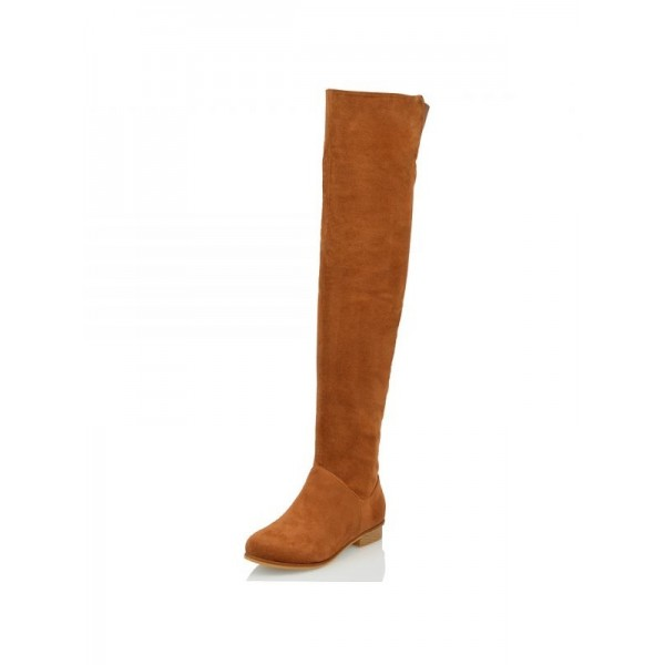 Tan Suede Long Boots Flat Knee High