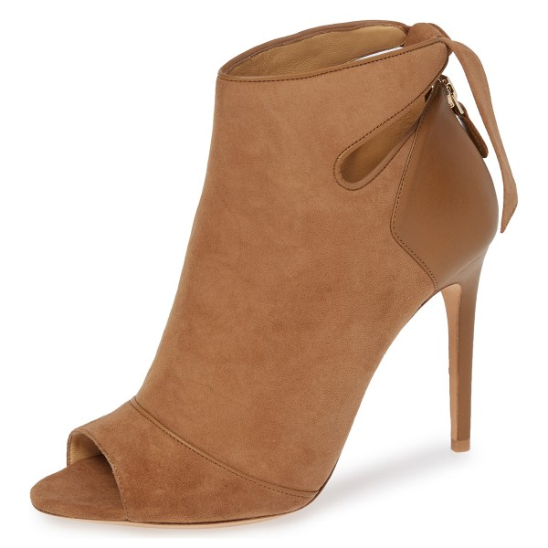 37303c40d953 Tan Fall Boots Peep Toe Back Tie Stiletto Heel Ankle Booties image 1 ...