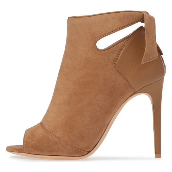 61e9f3cfdf002 ... Tan Fall Boots Peep Toe Back Tie Stiletto Heel Ankle Booties image 3 ...