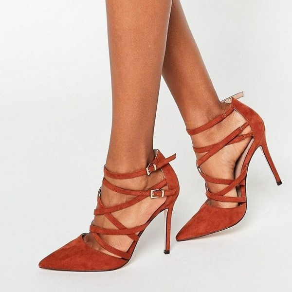 Women's Suede Pointy Toe Strappy Buckle Stiletto Heels Pumps image 1