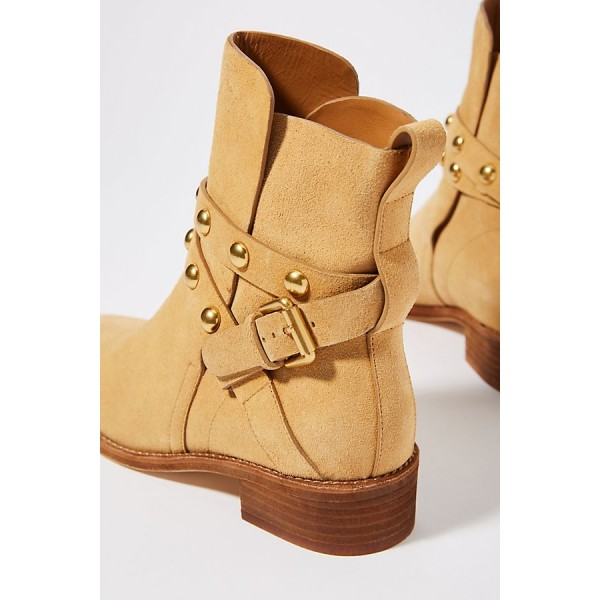 Tan Suede Studs Buckle Flat Ankle Booties image 3