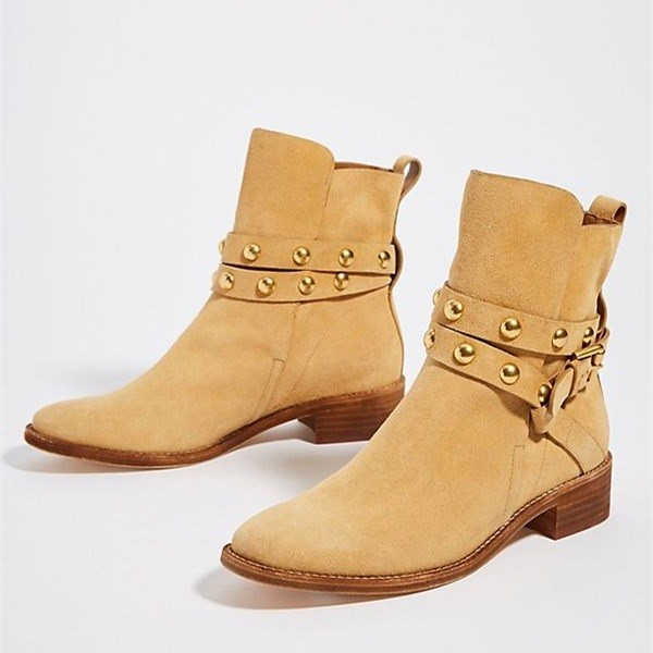 Tan Suede Studs Buckle Flat Ankle Booties image 1
