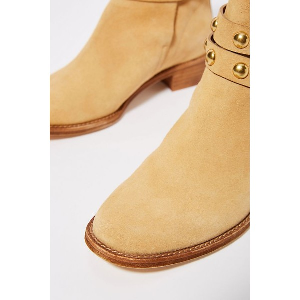 Tan Suede Studs Buckle Flat Ankle Booties image 4