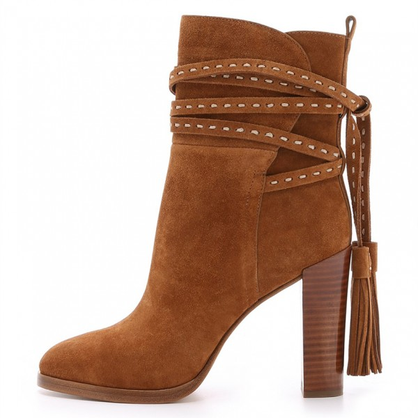 Tan Boots Suede Tassels Chunky Heels for Women image 5