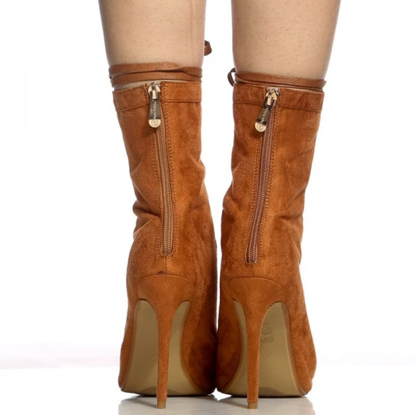 Brown Lace up Boots Peep Toe Stiletto Heels Suede Summer Ankle Boots  image 6