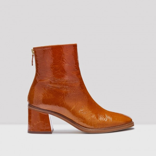 Tan Textured Vegan Leather Chunky Heel Boots Round Toe Ankle Boots image 3