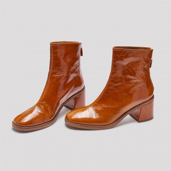 Tan Textured Vegan Leather Chunky Heel Boots Round Toe Ankle Boots image 1