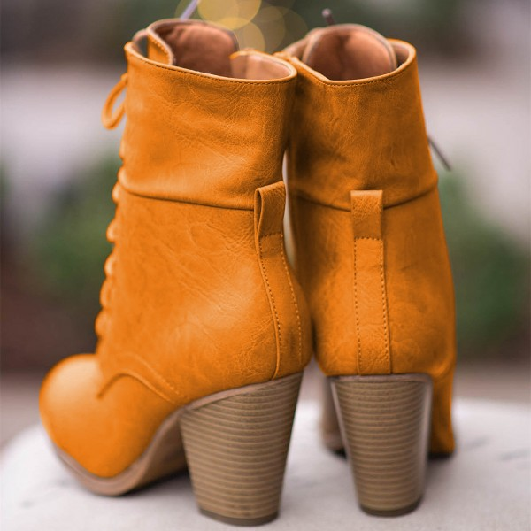 Tan Vintage Boots Lace up Chunky Heel Retro Ankle Boots image 2
