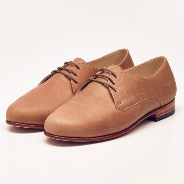 Tan Vintage Shoes Lace-up Women's Oxfords Round Toe Comfortable Shoes image 1