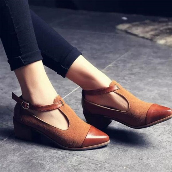Tan Suede T Strap Vintage Shoes Block Heel Ankle Strap Pumps image 4