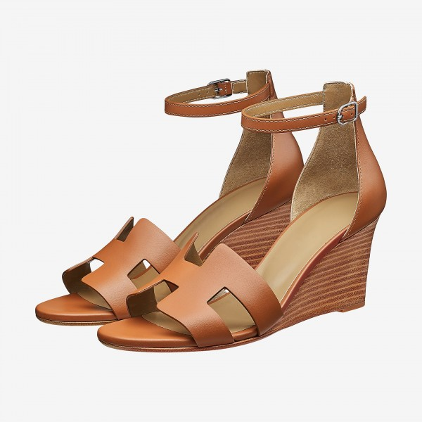 Tan Wedges Sandals Open Toe Vintage Legend Ankle Strap Sandals image 1