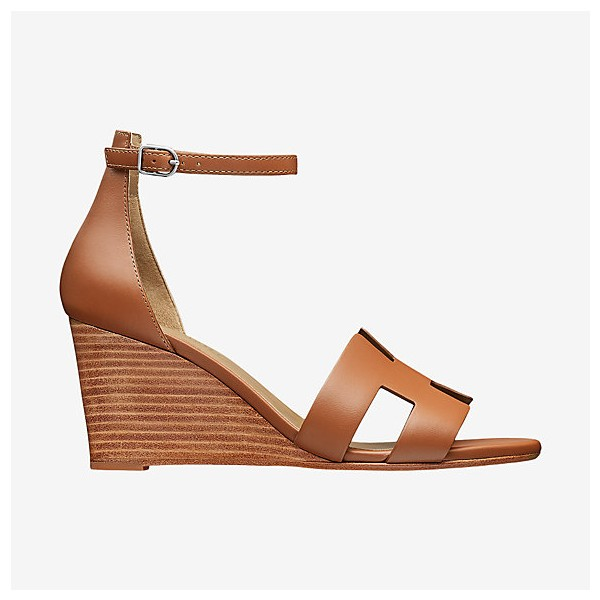Tan Wedges Sandals Open Toe Vintage Legend Ankle Strap Sandals image 3
