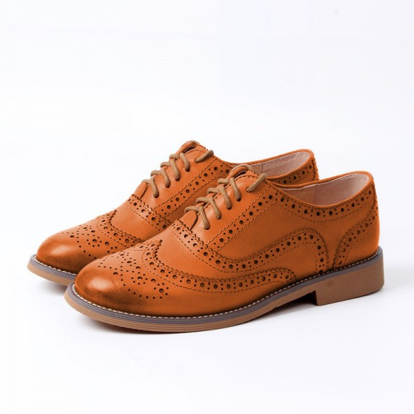 Tan Women's Oxfords Lace Up Heels Brogues Chunky Heels Vintage Shoes image 1