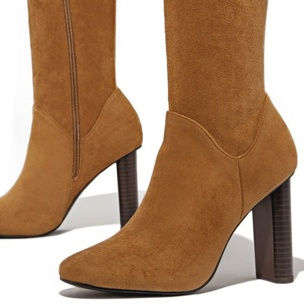 Tan Zipper Suede Boots Almond Toe Chunky Heel Thigh High Boots image 2