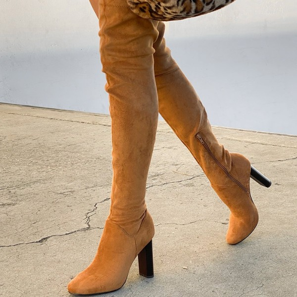 Tan Zipper Suede Boots Almond Toe Chunky Heel Thigh High Boots image 3