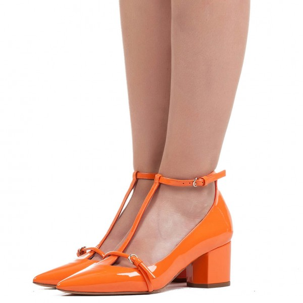 Women's Orange  T Strap Heels Pointy Toe Chunky Heels Pumps image 1