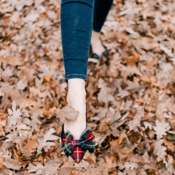 Red and Green Plaid Bow Pointy Toe Comfortable Flats image 4