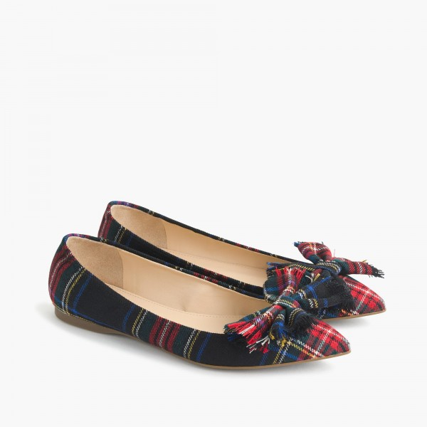 Red and Green Plaid Bow Pointy Toe Comfortable Flats image 6