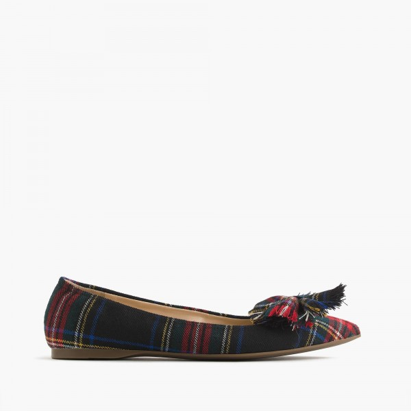 Red and Green Plaid Bow Pointy Toe Comfortable Flats image 5