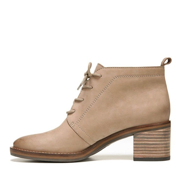 Taupe Short Boots Round Toe Lace up Wooden Block Heel Ankle Boots image 3