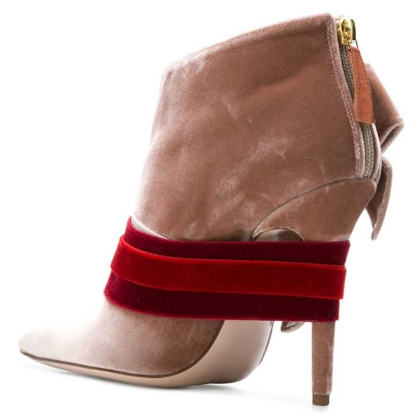 Blush Velvet Boots Pointy Toe Strappy Side Bow Fashion Ankle Booties image 2