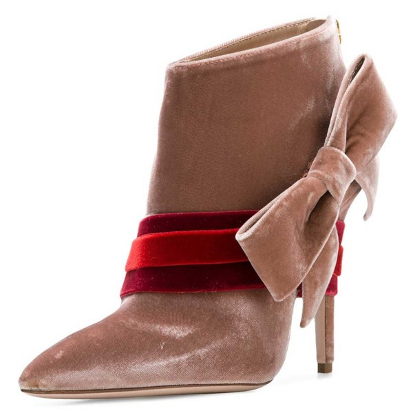 Blush Velvet Boots Pointy Toe Strappy Side Bow Fashion Ankle Booties image 1