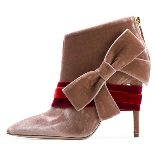 Blush Velvet Boots Pointy Toe Strappy Side Bow Fashion Ankle Booties image 3