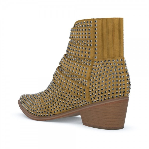 Taupe Buckles Studs Fashion Boots Block Heel Ankle Boots image 2