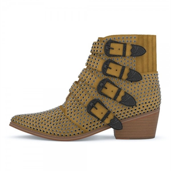 Taupe Buckles Studs Fashion Boots Block Heel Ankle Boots image 3