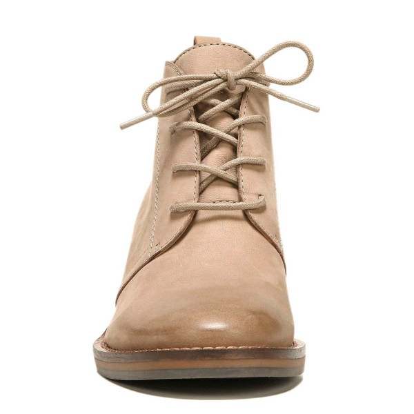 eba90cae9bc8 ... Taupe Short Boots Round Toe Lace up Wooden Block Heel Ankle Boots image  2 ...
