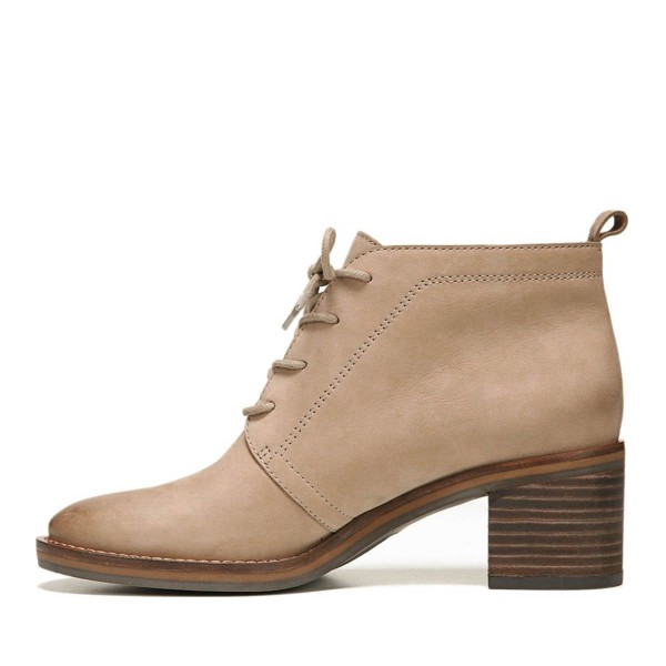Taupe Short Boots Round Toe Lace up Wooden Block Heel Ankle Boots image 2