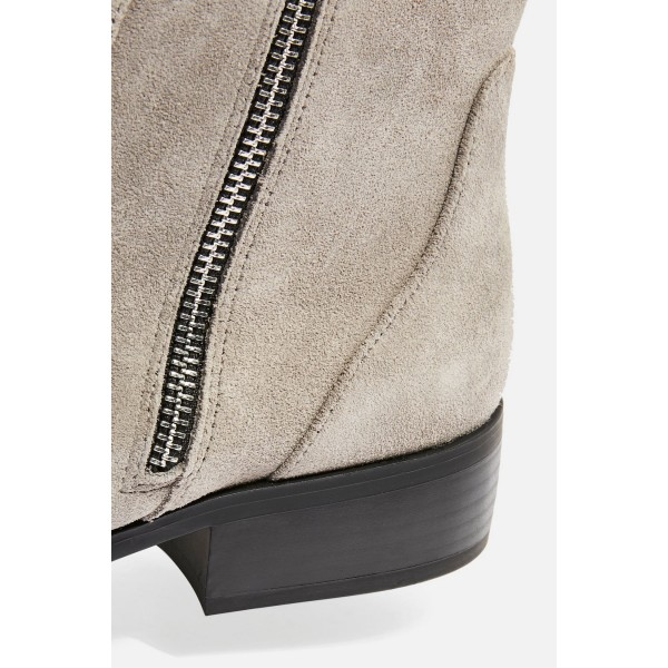 Taupe Boots Suede Side Zipper Flat Ankle Boots image 2