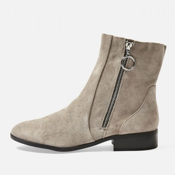 Taupe Boots Suede Side Zipper Flat Ankle Boots image 3