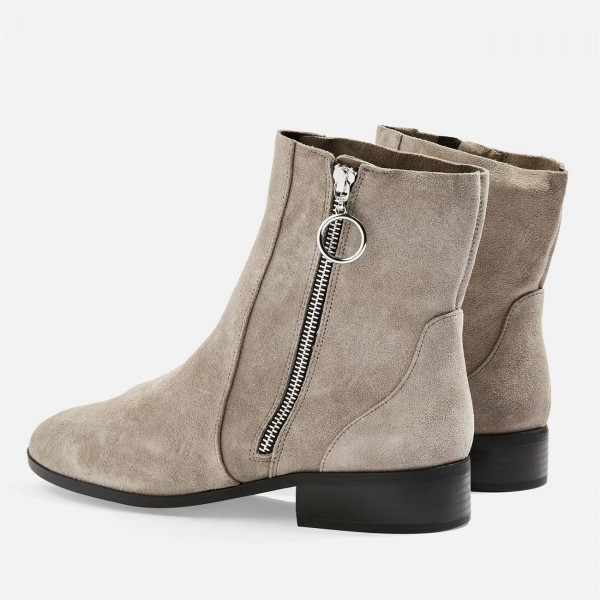 Taupe Boots Suede Side Zipper Flat Ankle Boots image 4