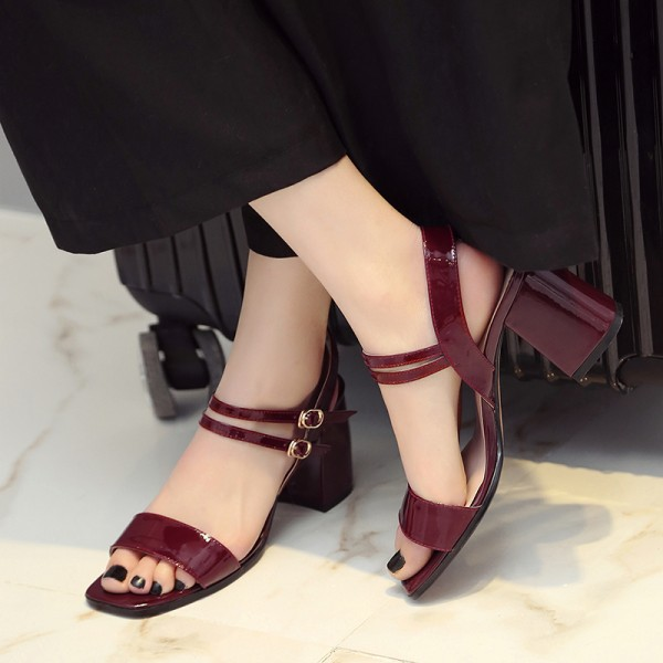 Burgundy Heels Patent Leather Square Toe Block Heel Sandals image 2