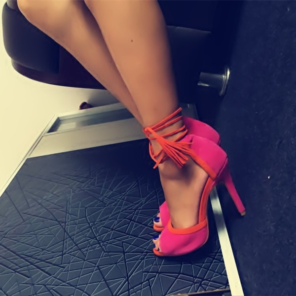 Hot Pink Strappy Sandals Peep Toe Lace up Tassels Suede Pumps image 2